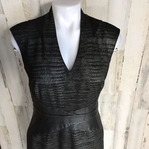 Ellen Tracy Black Gray Sheath Dress Cap Sleeve